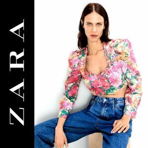 NWT Zara Floral Long Sleeve Crop Top